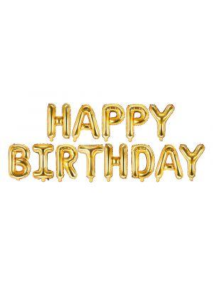 """Kultainen """"Happy Birthday"""" -muotoinen foliopallo."""