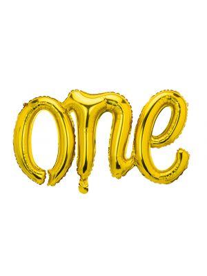 """Kultainen foliopallo """"one"""", täydellinen 1-vuotis juhliin."""