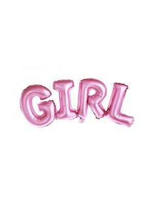 """Vaaleanpunainen foliopallo """"GIRL""""."""