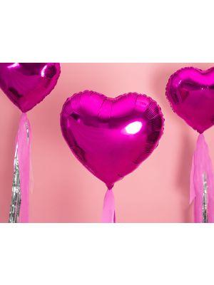 Sydämen muotoinen fuksia foliopallo, 45 cm.