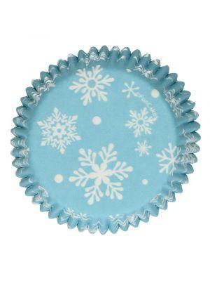 Vaaleansiniset muffinssivuoat lumihiutaleilla, 48 kpl.