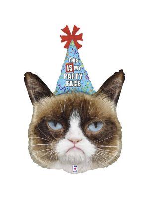 """Hauska ärtyisä kissa foliopallo (Grumpy Cat) tekstillä """"This is my party face""""."""