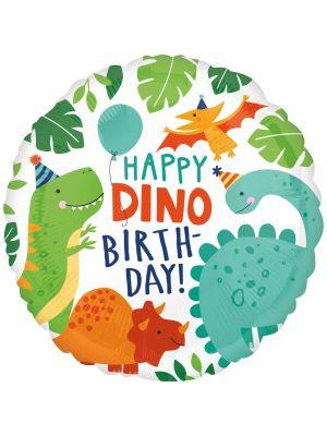 """Dinosaurus-aiheinen foliopallo, tekstillä """"Happy Dino Birthday!"""""""