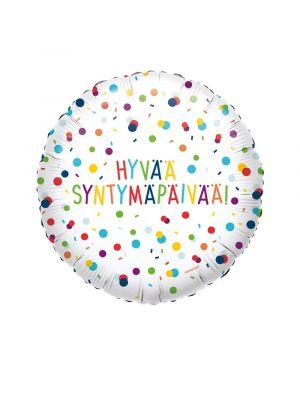 """Pyöreä foliopallo tekstillä """"Hyvää Syntymäpäivää!""""."""