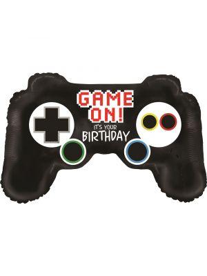 """Peliohjain foliopallo tekstillä """"Game On It´s Your Birthday"""""""