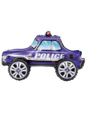 Foliopallo - Sininen poliisiauto, 65 x 38 cm.