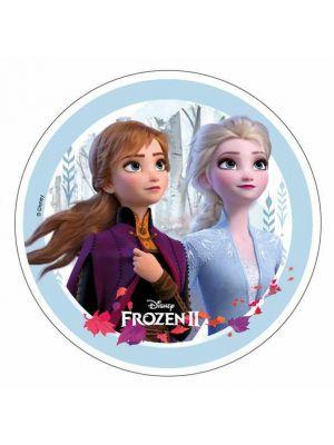 Frozen 2 kakkukuva Frozen-synttäreihin. Kakkukuva tehty vohvelipaperista.