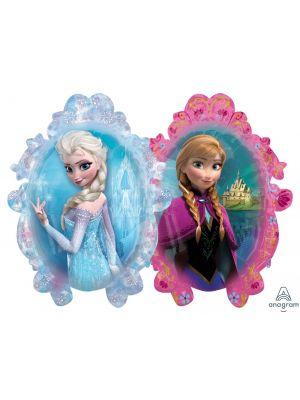 Kaksipuolinen Frozen foliopallo, Elsa ja Anna kuvat.