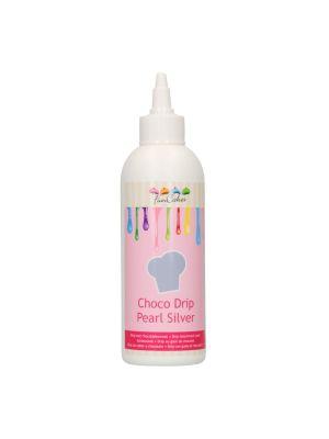 FunCakes Choco Drip Pearl Silver - Hopeanvärinen valukuorrute kätevässä pullossa, 180g.