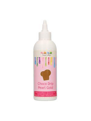 FunCakes Choco Drip Pearl Gold - Kullanvärinen valukuorrute kätevässä pullossa, 180g.