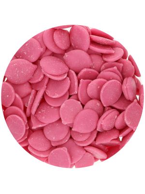 FunCakes Deco Melts Raspberry - Vadelmanmakuiset suklaanapit, 250g.
