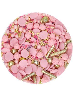FunCakes Sprinkle Medley Glamour Pink - Vaaleanpunainen/kultainen syötävä koristerae.