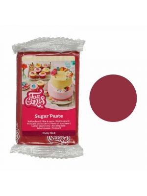 FunCakes Sugar Paste Ruby Red - Rubiininpunainen sokerimassa, 250g.