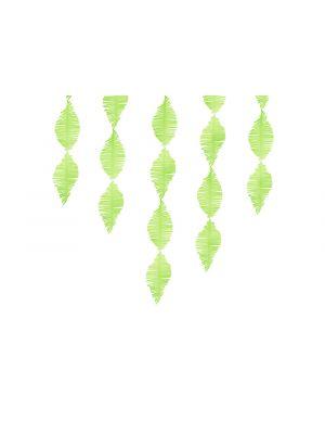 Kaunis lime-vihreä kreppikoriste, 3m pitkä.