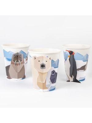 Pahvimukit, Polaarin Eläimet, 6 kpl. (jääkarhu, pingviinija mursu)