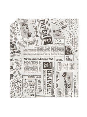 Grillitasku sanomalehti-kuviolla. Kätevä paperitasku esimerkiksi grilliherkuille ja hampurilaisille!