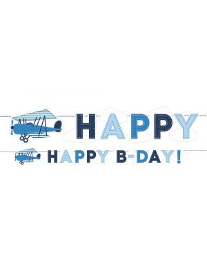 "Koristeviiri lentokoneella, ""Happy B-day!""."