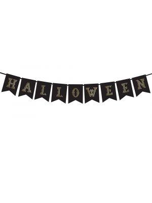 Musta banneri, kultaisella tekstillä lukee Halloween.