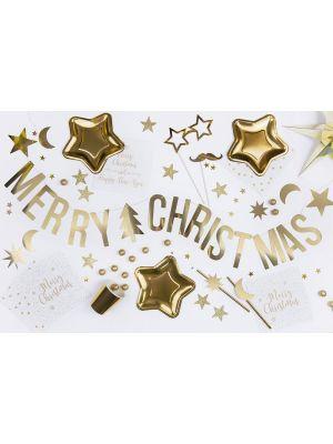 """Kultainen joulu-koristebanneri """"Merry Christmas""""."""