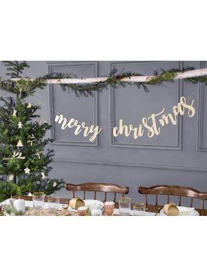 """Puinen joulukoriste """"merry christmas""""."""