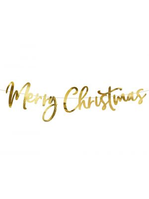 Kultainen banneri, Merry Christmas, 80cm