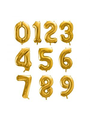 Numerofoliopallot, kultaiset, koko 86 cm.