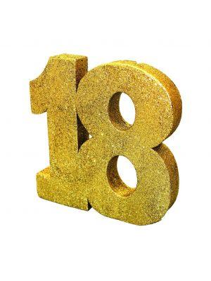 Upea kulta-glitteri pöytäkoriste numero 18.