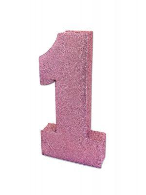 Upea vaaleanpunainen-glitteri pöytäkoriste numero 1.