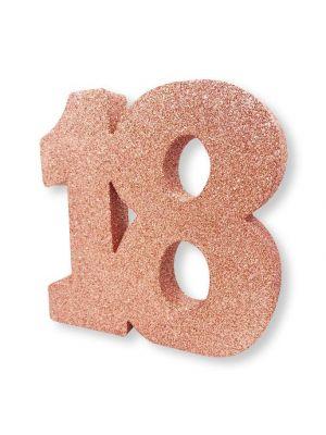 Upea ruusukulta-glitteri pöytäkoriste numero 18.