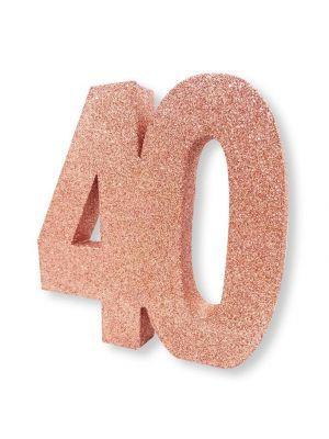 Upea ruusukulta-glitteri pöytäkoriste numero 40.