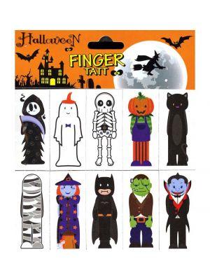 Halloween aiheiset väliaikaiset sormitatuoinnit, 10 kpl.