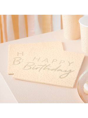 Lautasliinat, Peach & Gold, Happy Birthday, 16kpl