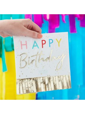 Happy Birthday lautasliinat kultaisilla hapsuilla, 16 kpl