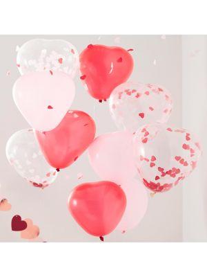 Ilmapallokimppu, 10 kpl sydämenmuotoiset ilmapallot.