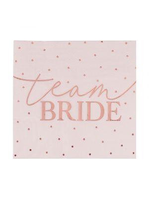 """Vaaleanpunaiset servetitruusukultaisilla pilkuilla ja tekstillä """"Team Bride"""", 16 kpl."""