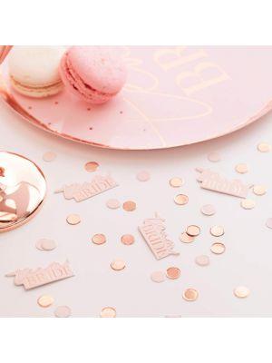 """Isot vaaleanpunaiset pahvilautasetruusukultaisilla pilkuilla ja tekstillä """"Team Bride"""", 8 kpl."""