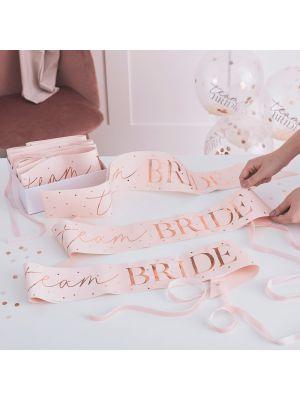 Vaaleanpunaiset Olkanauhat Team Bride, 6kpl