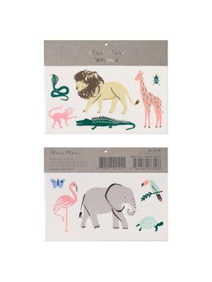 Meri Merin väliaikaiset tatuoinnit, 2 arkkia safarin eläintatuointeja.