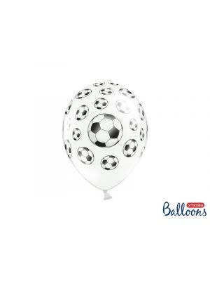Valkoiset ilmapallot jalkapalloilla, 6 kpl.