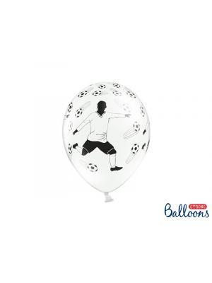 Valkoiset ilmapallot jalkapallopelaajalla ja jalkapalloilla, 6 kpl.