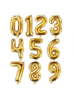 Kullanväriset numerofoliopallot 0-9, koko 35 cm.
