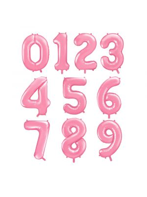 Numerofoliopallot, Vaaleanpunaiset, koko 86 cm.