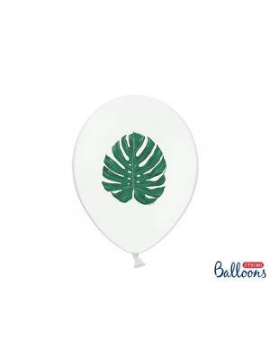 Valkoiset ilmapallot lehdellä - 30cm