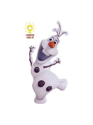 Puhallettava Olaf hahmo valolla.