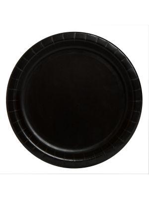 Isot mustat pahvilautaset, 22 cm,  8 kpl.