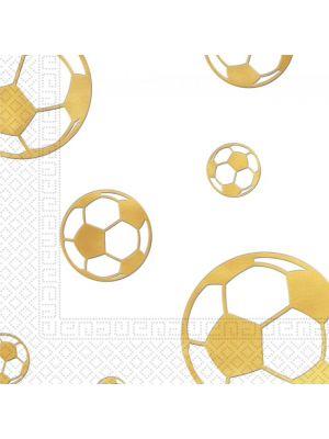 Jalkapalloaiheiset kultaiset servetit, 15 kpl.