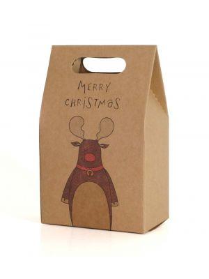 """Poro-lahjapussi tekstillä """"Merry Christmas""""."""
