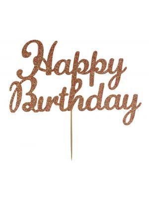 """Kakkukoriste """"Happy Birthday"""", ruusukulta-glitteri."""
