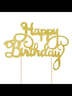 """Kulta-glitteri kakkukoriste """"Happy Birthday""""."""