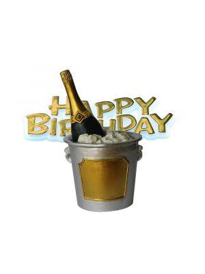 Kakkukoriste, Samppanjapullo, Happy Birthday